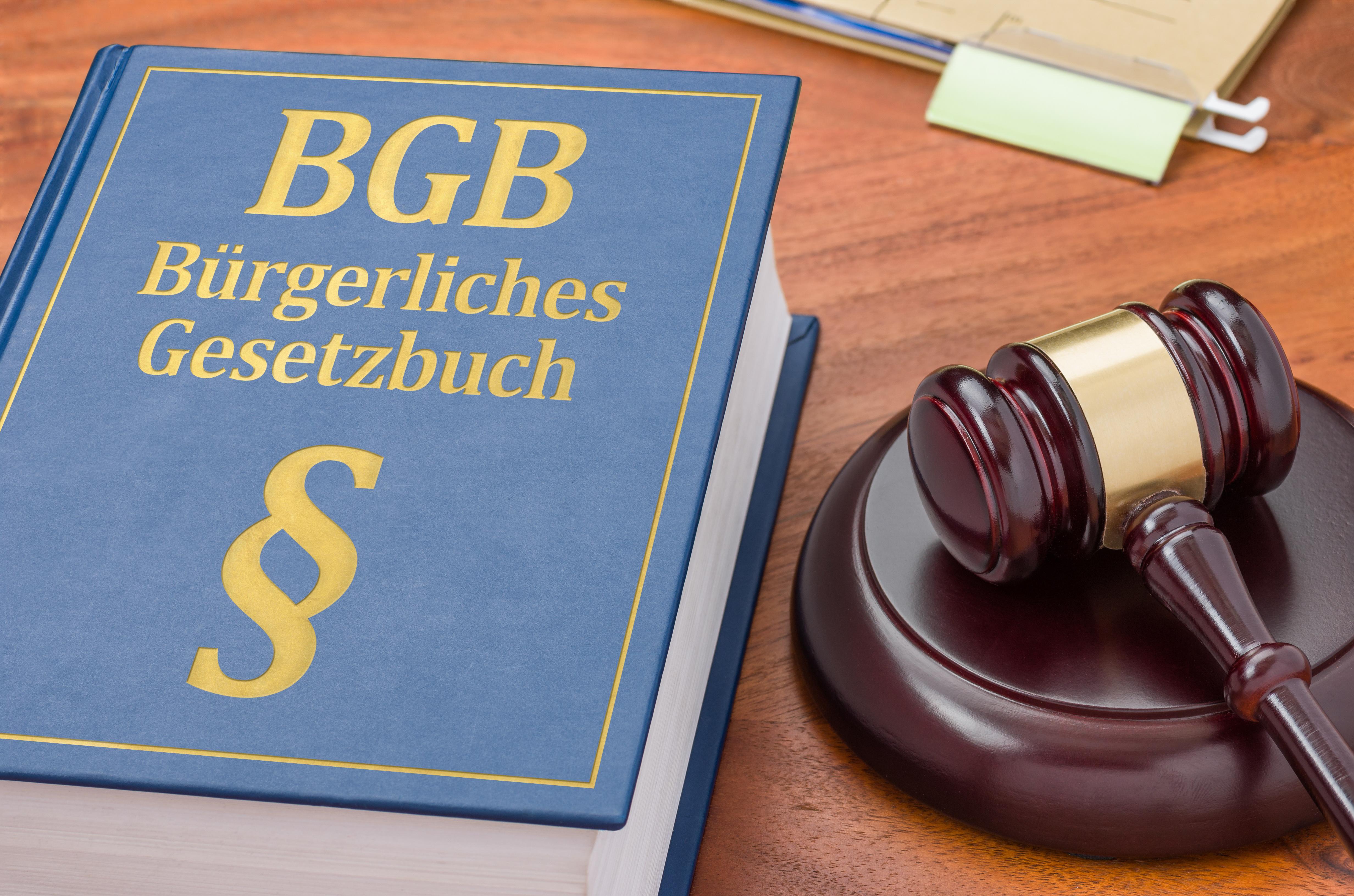 Gesetzbuch mit Richterhammer – Bürgerliches Gesetzbuch